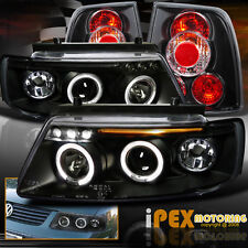1997-2000 VW Passat B5 Dual Halo Projector LED Black Headlights W/ Tail Lights