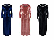Ladies Womens Velvet Belted Neck Trim Brides Maid Long Sleeve Party Maxi Dress