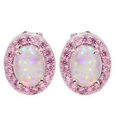Pink Fire Opal Pink Topaz Silver Women Jewelry Gems Stud Earrings 12mm OH3900