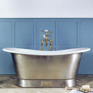 Witt & Berg Copper Bateau Bathtub - Brushed Nickel Exterior / Enamel Interior