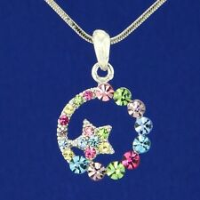 Multi Color Pendant Necklace Jewelry Gift W Swarovski Crystal Moon Star Sun