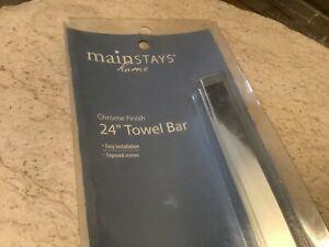 MAINSTAYS 24 INCH NEW TOWEL BAR SILVER CHROME FINISH EASY INSTILLATION