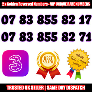2 x Golden Reversed Numbers - Best For Company/Business- Supercharged SIM