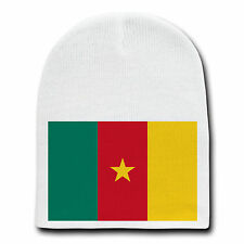 Cameroon World Country National Flag White Beanie Skull Cap Hat Winter New