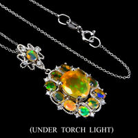 Unheated Oval Fire Opal Rainbow Flash 10x8mm Cz 925 Sterling Silver Necklace 18