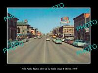 OLD 8x6 HISTORIC PHOTO OF TWIN FALLS IDAHO THE MAIN STREET & STORES c1950