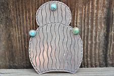 Vintage Native American Navajo Cactus Pin.  Marked Sterling