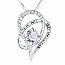 14K White Gold 1/4 Carat Real Crystal Bow Tie Heart Pendant Necklace