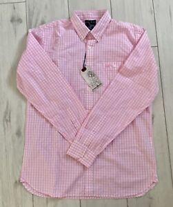 Mens Raging Bull Shirt Long Sleeve Pink Gingham Size M BNWT