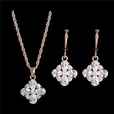 Sparkly Austrian Crystal 18K Rose Gold Filled Necklace Earrings Bridal Jewelry