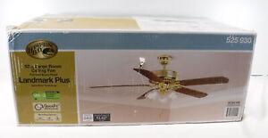 "Hampton Bay Landmark Plus 52"" Indoor Polished Brass Ceiling Fan NIB Quiet Motor"