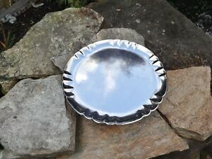 """EARLY GEORG JENSEN DENMARK 519B HAMMERED STERLING SILVER SCALLOP EDGE TRAY,11.5"""""""