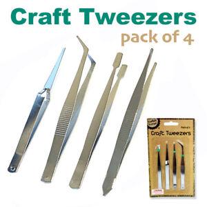 4pcs Craft Tweezers Stainless Steel Precision Tweezer Set Hobby Jewellery Nail