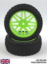 Frente De 8 Radios Ruedas Verde & curvados garra Neumáticos 1/10th Buggy/Coche RC * pre pegado *