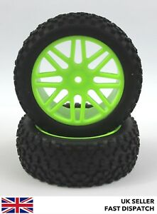 Front 8-Spoke Green Wheels & Knobbly Claw Tyres 1/10th Buggy/Car RC *PRE GLUED*