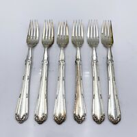 Set up 6 antique table dining cutlery forks silver plate - (P8) F7