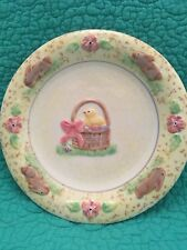 Ceramic Easter Rabbit And Chick In Basket Salad/Dessert Plate By Baum Bros.