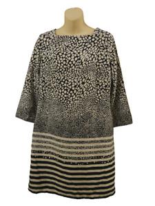 Designer Viz-A-Viz Dress Blue White Spot Stripe Size 12 Ladies Summer Womens