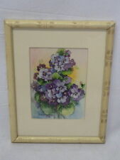 BESS E GOURLEY PURPLE PANSIES FLORAL WATERCOLOR  PAINTING SIGNED AND DATED 1956