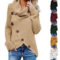 Women Knitwear Chunky Cowl Neck Asymmetric Hem Knitted Sweater Jumper Pullover