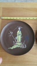 Chinese Yixing Clay Pottery Enamel Plate