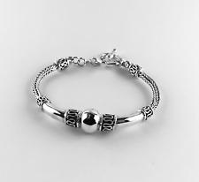 Sterling Silver 925 Bali Buddha Ball Bracelet Foxtail Chain Style T-Bar Clasp