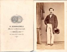 Schnaebeli, Berlin, homme à la moustache Vintage CDV albumen carte de visite