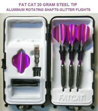 Fat Cat Darts 20 gm Steel Tip Dart Set-Rotating Shafts-Purple Glitter Flights