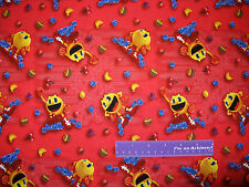 Pac-Man And The Ghostly Adventures Fruit Red Cotton Fabric BY THE HALF YARD