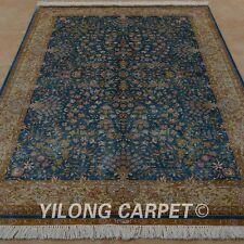 YILONG 4.5'x6.5' Handknotted Silk Rug All-over Blue Flower Carpet 0160