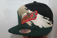 Seattle Supersonics Mitchell & Ness NBA Gold Paint Brush Snapback,Hat,Cap