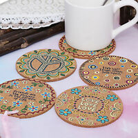 4pcs Cork Drink Coasters Tea Coffee Absorbent Round Cup Mat Table Decor Home