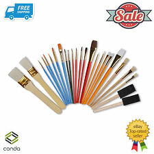 25 Pcs Oil & Acrylic Paint Long Handle Brush Set Conda Chip Foam Sponge Brush PK