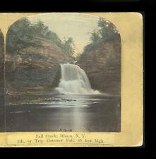 1860s-70s Stereoview Fall Creek Trip Hammer Falls, J.C. Burritt, Ithaca New York
