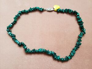"""Hand- Made GENUINE * MALACHITE * NECKLACE 14"""" Long - Made in USA"""