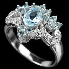 Natural SKY BLUE TOPAZ  Birthstone & White CZ 925 STERLING SILVER RING S6.5