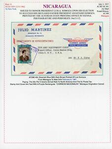 Nicaragua Somoza Election Cover LOT #196 1961 35c+5c PT MANAGUA - UTICA NY $$$