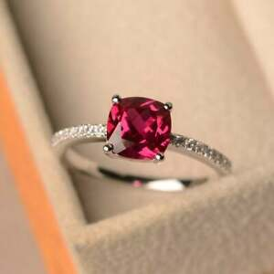 925Sterling Silver Natural Certified 3Ct Ruby Octagon Shape Cluster Ring For Her