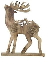 Christmas Decorations Centrepiece Large Wooden Santa's Reindeer Floor Ornament