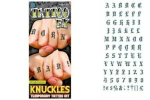 Realistic Knuckle Tattoos Old English Alphabet Letter Waterproof Finger Tatts