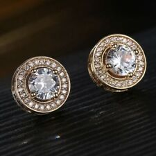 1.5 Ct White AAA Zirconia with Diamond Halo Stud Earrings 14K Rose Gold Plated