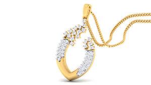 Pave 0,63 Cts Runde Brilliant Cut Natürliche Diamanten Anhänger In 585 14K Gold