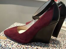THE KOOPLES Burgundy Suede & Black Leather Wedges. Size 38
