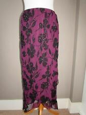 PRIMARK Ladies Purple Berry & Black Floral Floaty Skirt Bead Trim Size 12 BNWT