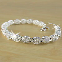 Women's Charm Beads Silver Chain Bangle Bracelet Gorgeous Wedding Jewelry Gifts