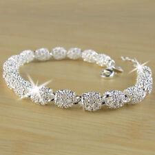 Women's Charm Beads Silver Chain Bangle Bracelet Gorgeous Wedding Jewelry Gifts