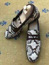 Prada Mens Shoes Beige Brown Leather Snakeskin Loafers UK 9 US 10 EU 43