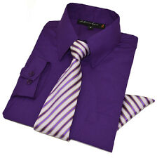 Johnnie Lene Boys Long Sleeve Dress Shirt with Tie and Pocket Square JL26