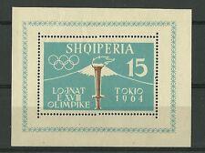 ALBANIA FOGLIETTO 1964 OLIMPIADI TOKYO VULCANO FUJI  CAT.YVERT BF 6B DENTELLATO