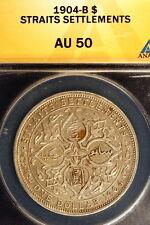1904-B ANACS AU50 Straits Settlement (Malaysia) Edwaed VII One Dollar!! #E0806